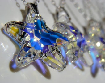 Starfish Swarovski Crystal AB Sterling Silver Necklace