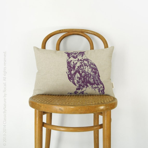 Owl Pillow | PERSONALIZED pillow case, throw pillow cover | Pick your Ink Color - Fabric - Size, 12x18 or 16x16 | Spring Summer Decor