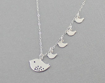 Silver Bird Family Necklace Baby Bird Necklace Mother's Necklace Keepsake Family Jewelry Mother's Day Gift Grandma