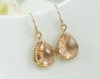 Peach Earrings Champagne Bridesmaid Earrings Gold Blush Wedding Bridal Jewelry Gold Tear Drop Bridesmaid Gifts Everyday Earring Gift For Her