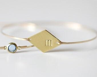 Monogram Bangle, Diamond Initial Bangle, Gold Initial Bracelet, Monogram Bracelet, Custom Initial Bracelet, Initial Bracelet, Bridal Initial