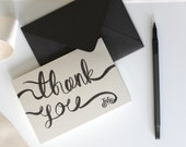 Thank You Card Set of 5 with grey envelopes, featuring my hand painted bicycle watercolor illustration in black, great and unique gift