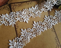 Cream White Venice Lace Trim Floral Leaves Lace Hollowed Out Trim 2.28 Inches Wide 2 Yards Wedding Dress Costumes Supplies