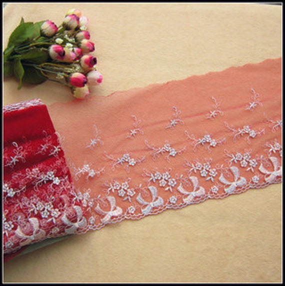 2 Yards Embroidery Floral Lace Trims Red Tulle Bow Embroidered Lace 6.49 Inches Wide