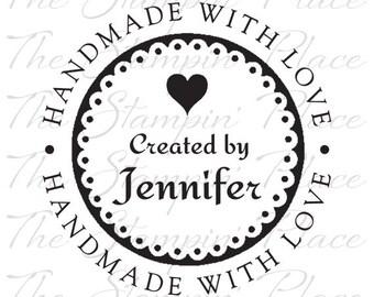 Personalized Custom Stamp - Handmade with Love Heart - PK320