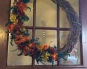 Large Wreath, peacock autumn wreath, fall color door wreath, farmhouse grapevine wreath