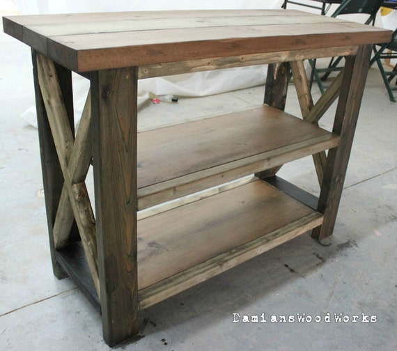 4 Foot Handcrafted Farmhouse Console Sofa by DamiansWoodWorks