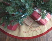 """Christmas Tree Skirt in Burlap with Red Accent and embroidery - 63"""""""