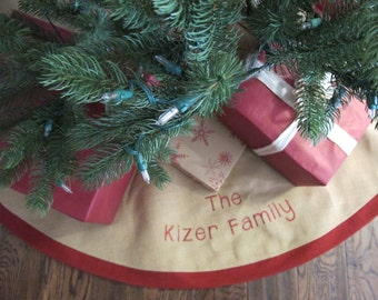 Christmas Tree Skirt in Burlap with Red Accent and embroidery - 63""
