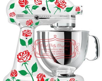 Roses kitchen mixer vinyl decal set