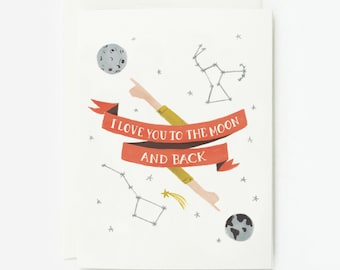 Moon and Back Card 1pc