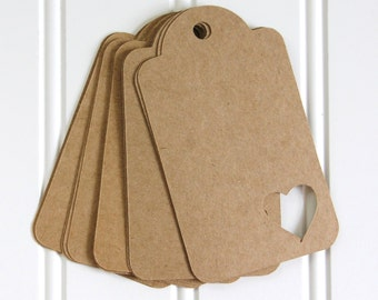 25 Die Cut Rustic Wedding Valentine Heart Gift Tags / Favor Tags / Wish Tree Tags (4 x 2.25 inches) in Brown Kraft Cardstock