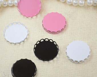10pcs White/Black/Pink   Color Plated Metal Cameo Base  with 25mm Cameo Setting