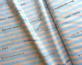 Japanese Cotton Fabric, Yuwa Fabric, Vintage Fabric, Retro Fabric, Striped Fabric, Text Fabric, 1970s Fabric/Magazine Stripe/a yard