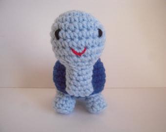 Crocheted Stuffed Amigurumi Blue Turtle