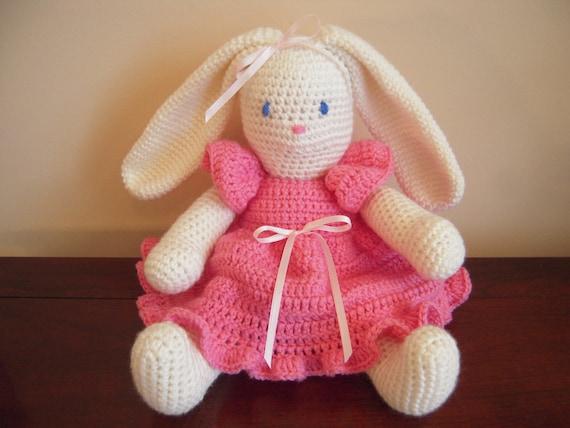 Amigurumi Bunny In Dress : Crocheted Stuffed Amigurumi Bunny Rabbit with Dress