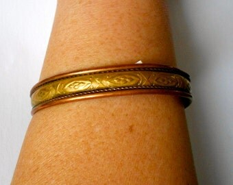 Vintage Copper and Brass cuff Bracelet nice detail