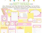lemonade sunshine polka dot chevron 1354 package Matching games, ticket, banner, bingo, thank you card, water bottle wraps, cupcake toppers