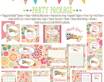 owl first birthday party package 1352 package AS IS Matching games, ticket banner bingo, thank you card, water bottle wraps, cupcake toppers