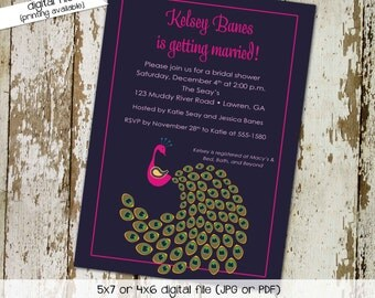 peacock bridal shower invitations purple couples coed high tea hen party bachelorette baby girl shower (item 304) shabby chic invitations