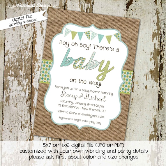 baby boy shower invitation burlap green blue bunting banner baby sprinkle twin birthday diaper couples (item 12107) shabby chic invitations