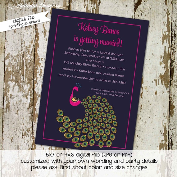 Couples Bridal Invitation co-ed party invite rehearsal dinner stock the bar after party peacock eggplant purple navy 304 Katiedid designs