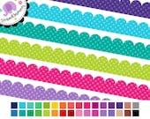 Scalloped Digital Ribbons Polka Dot - Digital Clipart - Instant Download - Commercial Use