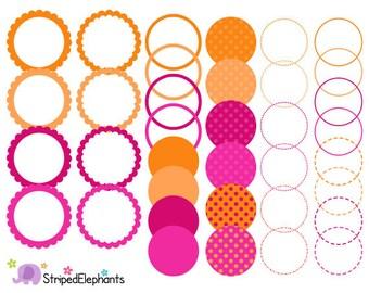 Pink and Orange Digital Frames - Clip Art Frames - Instant Download - Commercial Use