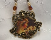Antique metal look frame bride picture glass amber brown beads 24 in chain  Wedding necklace