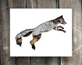 SALE : Red Fox In Bark - Animal Silhouette Wall Art - Woodland Theme Lodge, Nursery, Home Decor