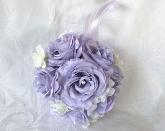 Lavender rose and creme hydrangea kissing ball rose pomander wedding flower ball