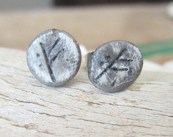 Rune earrings FEHU studs runes hand made clay jewelry metaphysical pagan wicca elder futhark magic  wiccan viking larp prosperity money