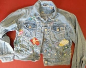 Vintage Hippy Girls Jean Jacket with embroidered Flower Garden CUTE!!! on Etsy