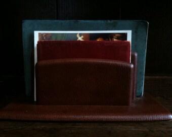 Vintage French Paris Brown Leather Letter Document Stand Rack Desk Decor circa 1950-60's / English Shop