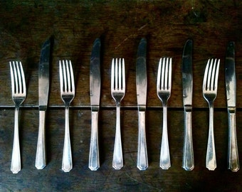 Vintage English set of 5 dinnerware set silverware cutlery utensils flatware circa 1970's / English Shop