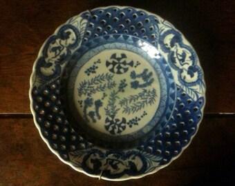 Antique Chinese Asia blue white ceramic monkey plate circa 1790 / English Shop