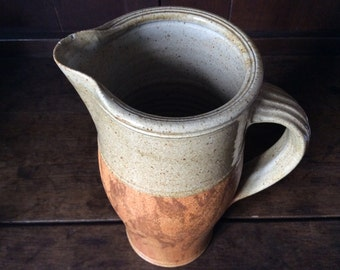 Vintage French large heavy earthware milk water custard cream jug pitcher circa 1950/1960's / English Shop