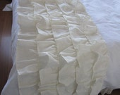 Queen- King-Twin bedding- bed runner, Ivory white- waterfall -linen bed scarf, shabby chic cottage style ruffled bedding scarves bed runner