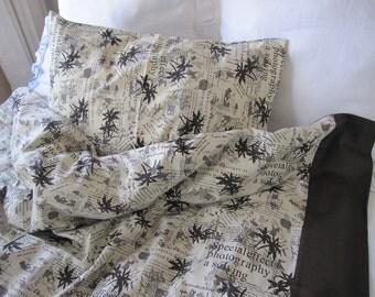 duvet cover TWIN XL College dorm room decor BOYS bedding, Cream beige brown bamboo print writing book bedding