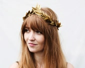 Gold Leaf Headband. Gold Crown, Mardi Gras Crown, Gold Leaf Crown, Gold Leaf Headpiece, Greek, Greek Wedding, Greek Goddess, Boho Wedding