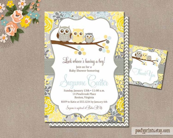 Owl Baby Boy Shower Invitation / Printable Baby Shower Invitation / Digital Invitation with FREE Favor Tags / Yellow Gray Blue // Suzanne
