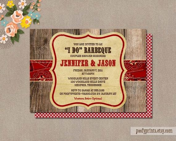 BBQ Couples Shower Invitation / Rustic Western Rehearsal Dinner / Barbeque Printable Invitation / Wood Background Bandana Print // Jennifer