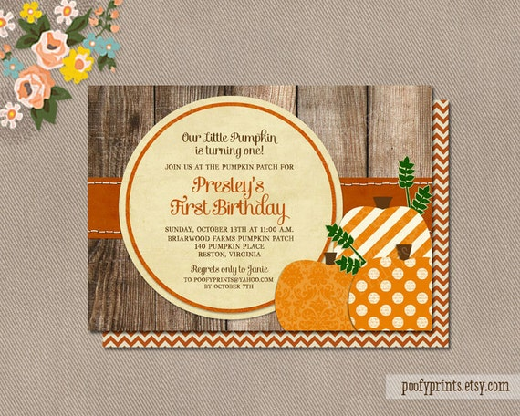 items similar to pumpkin patch birthday party invitations, Birthday invitations