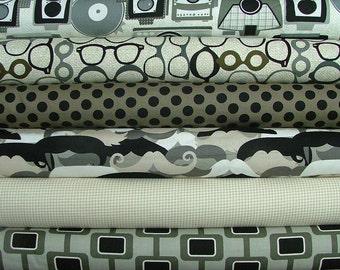 Mustache Camera & Glasses Urbanista Half Yard Bundle of 6 by Michael Miller