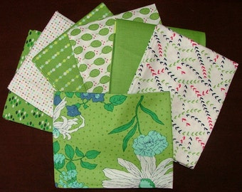 Color Me Happy Fat Quarter Bundle of 6 and 1 HALF YARD in Lime Green by V & Company for Moda