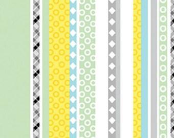 Last One Sale 1 FQ of Safari Playground Stripe White by Kanvas for Benartex