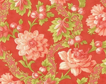 "End of Bolt 1 Yard 16.5"" of Somerset Poppy September Garden Red by Fig Tree Quilts for Moda"