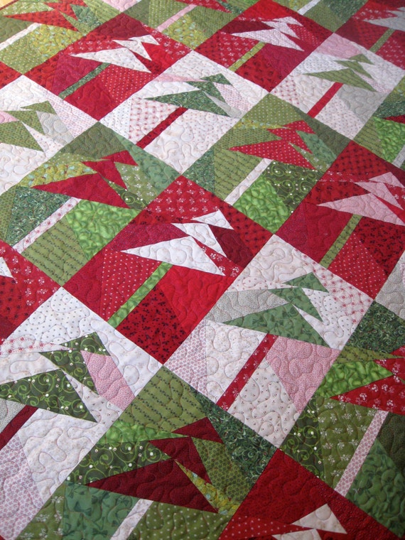 Art Quilt Wall Hanging Lap Quilt Modern Trees by SallyManke