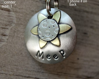 Daisy- mixed metal pet id tag