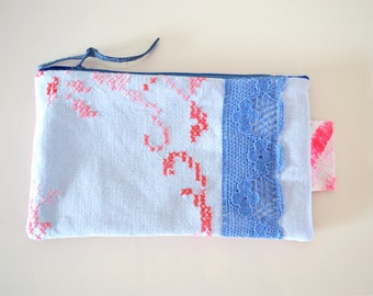 light blue and pink linen zipper pouch - school pencil pouch - cosmetic bag - vintage linen - gift for her - shabby chic style pouch